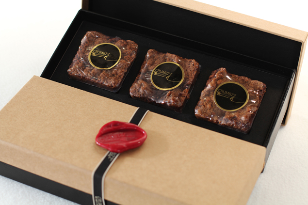 Crumbzz mini crumb cakes in their beautiful gift packaging