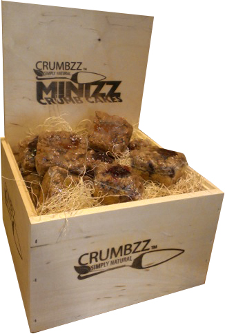Crumbzz mini crumb cakes in wooden box